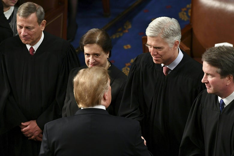 President Trump shakes hands with Supreme Court justices at the Capitol in Washington, DC, on February 5, 2019.