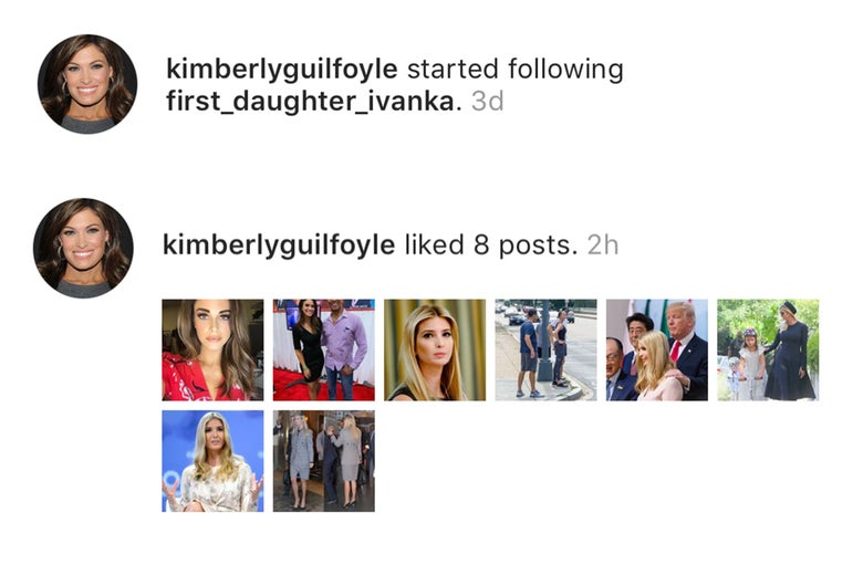 Kim Guilfoyle faves photos from various Ivanka fan accounts