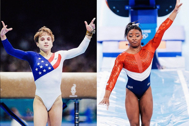 Left: Kerri Strug standing legs together with both arms raised after vaulting. Right: Simone Biles also with legs together, her left arm raised and right arm down and out beside her, also after vaulting.
