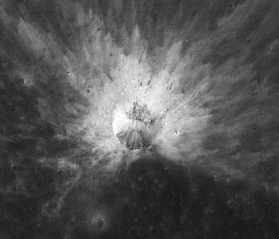 Asymmetric lunar crater, from a shallow impact.