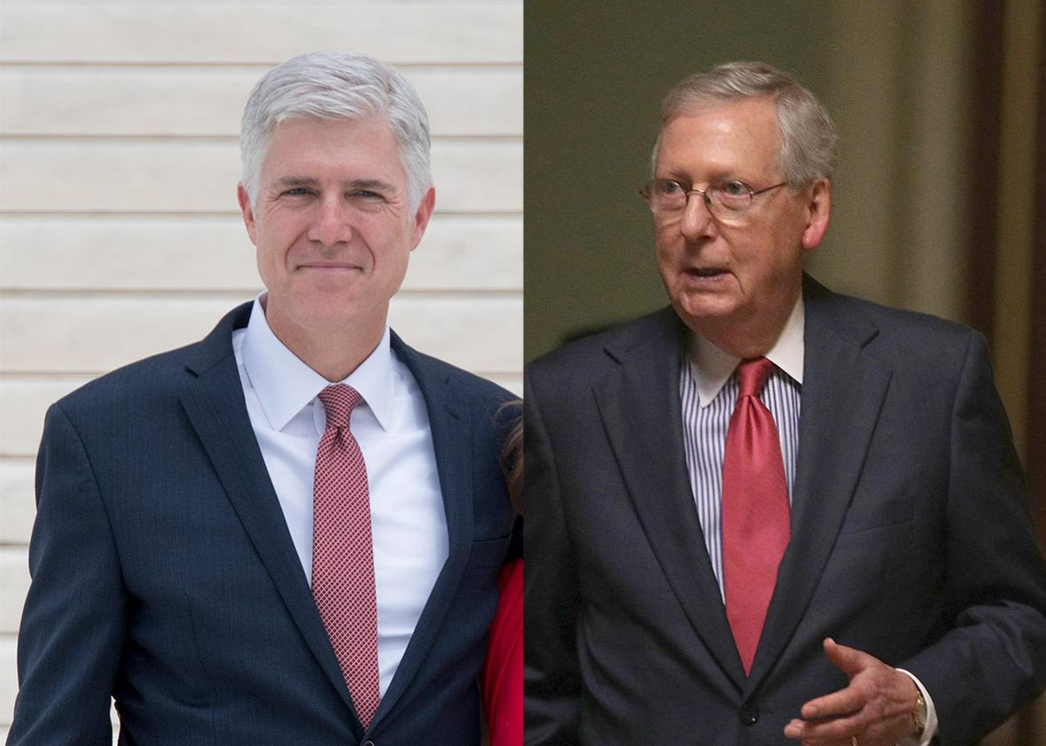 Justice Neil Gorsuch and Senate Majority Leader Sen. Mitch McConnell (R-KY)