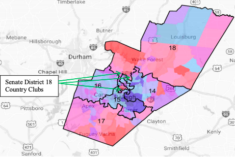 An example of North Carolina's gerrymander. Republicans drew Senate District 18 to encompass three country clubs and their surrounding, GOP-leaning communities.