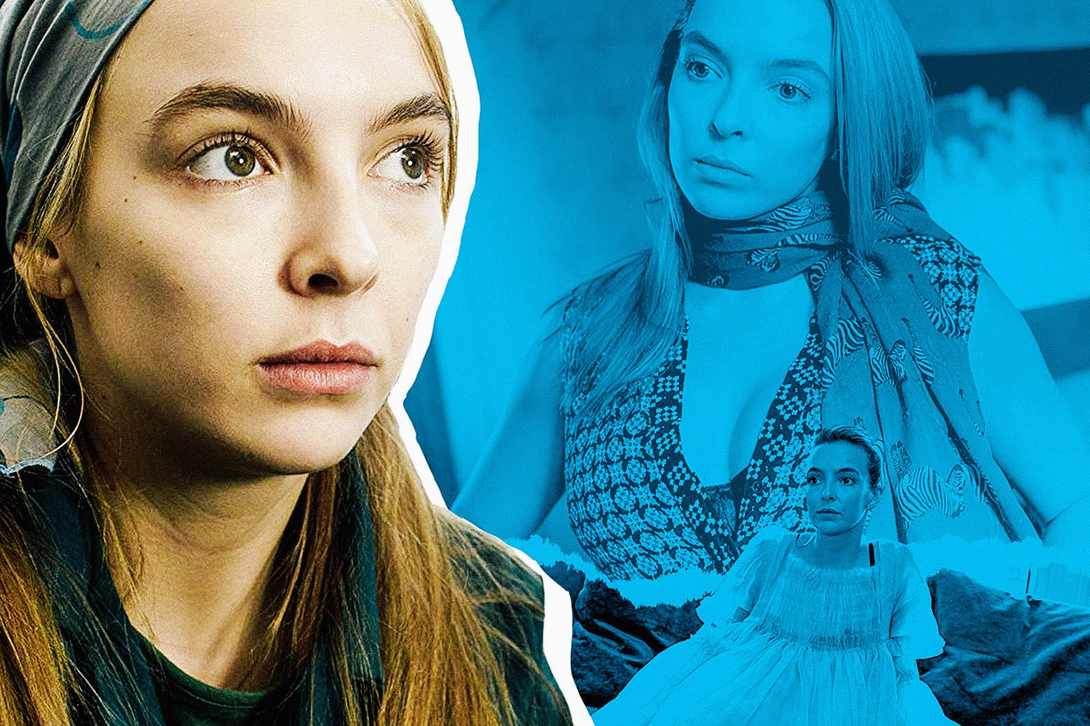 Jodie Comer as Villanelle in various costumes.