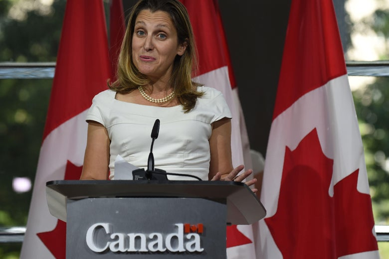 Canadian Foreign Minister Chrystia Freeland speaks at an Aug. 31 press conference at the Embassy of Canada in Washington.