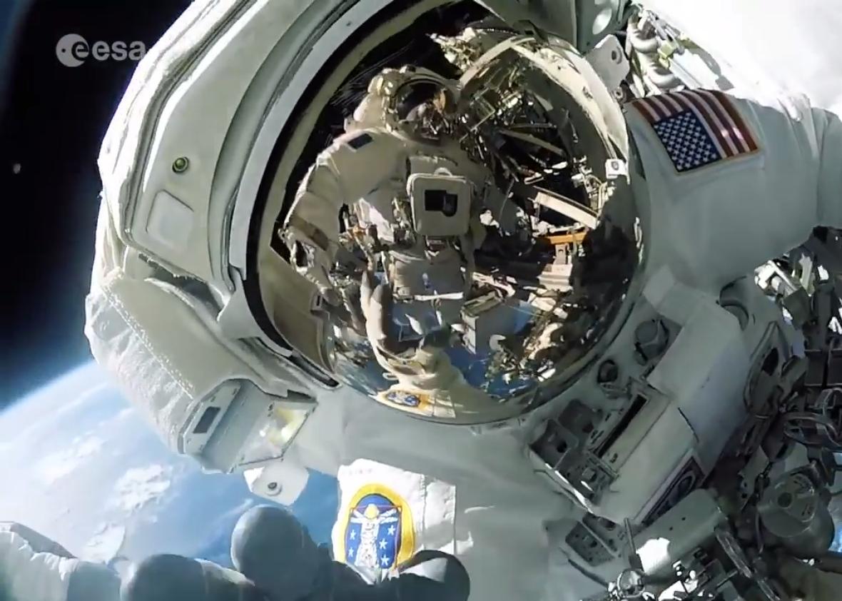 International Space Station spacewalkers have the best views.