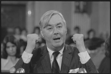 Daniel Patrick Moynihan at a meeting of the Senate Committee on Foreign Relations, March 1976.