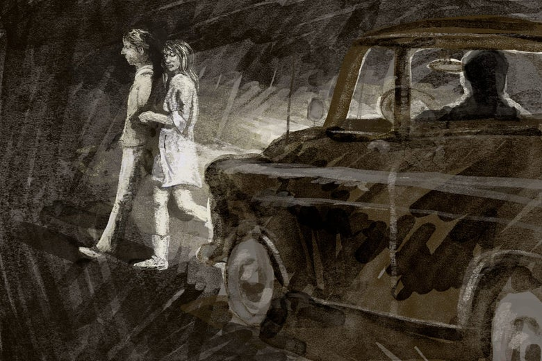 Night scene of a man and woman walking in the headlights of a truck driven by a man in shadow. Only the woman turns back to look at the truck.