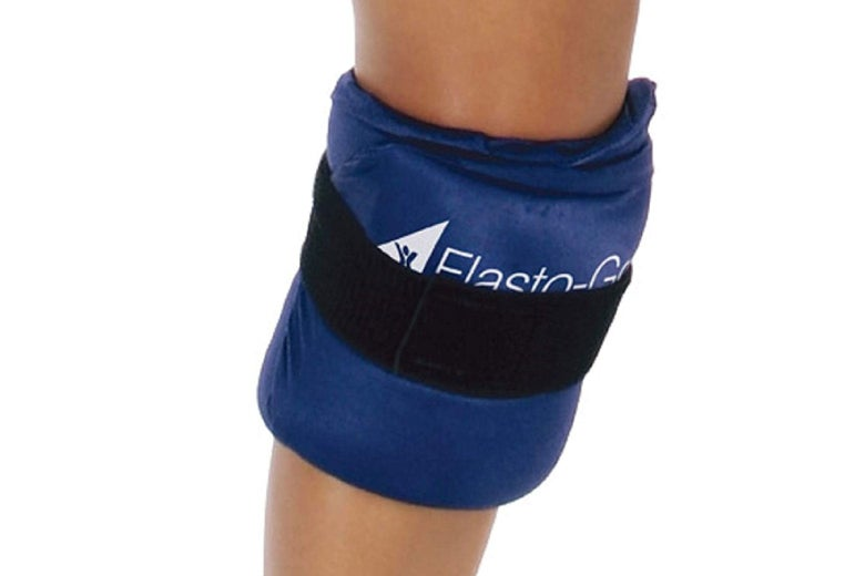 Hot/cold therapy wrap around a leg