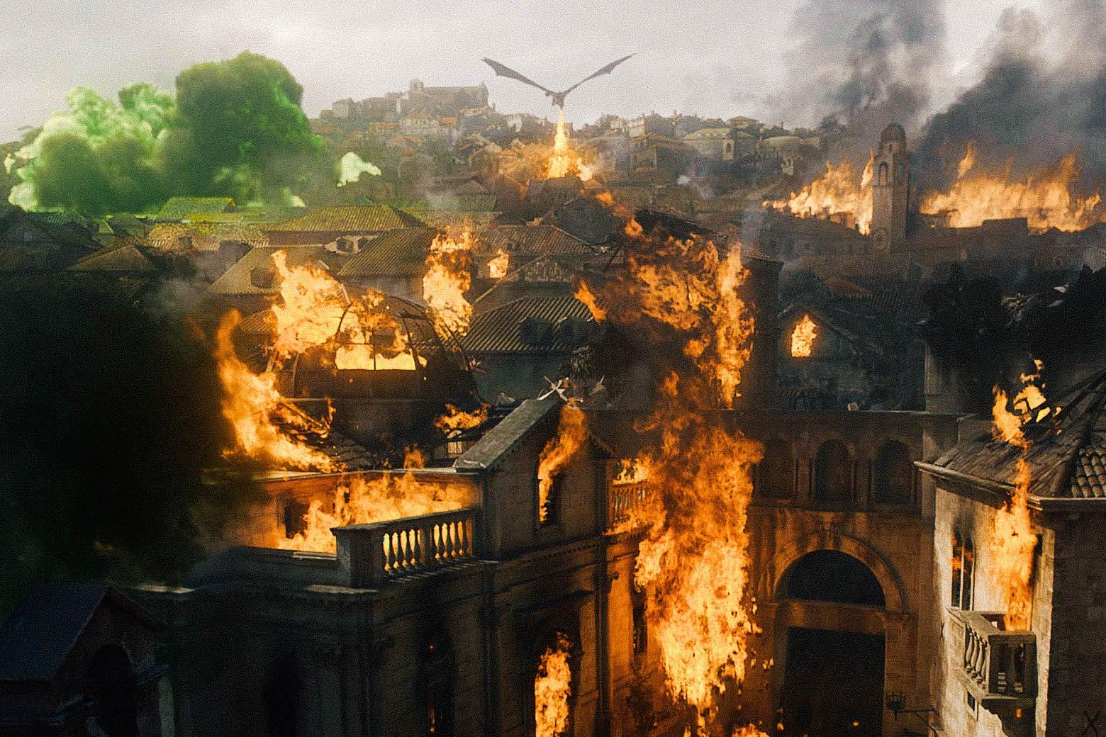 A dragon torches King's Landing.