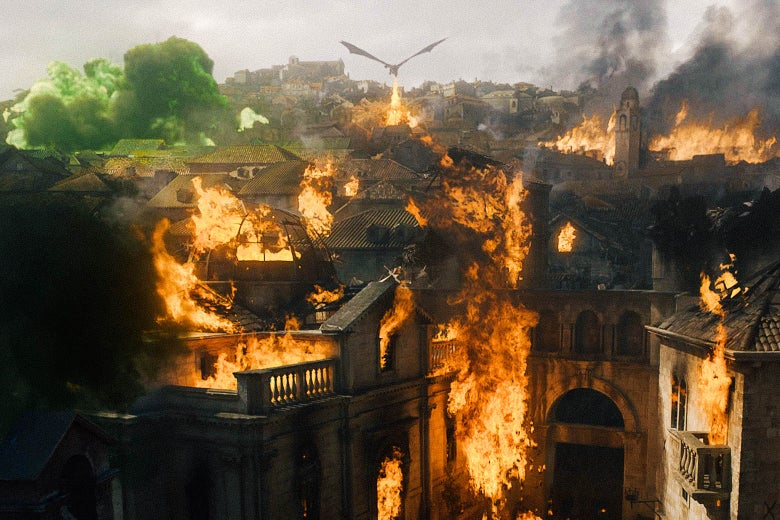 A dragon torches King's Landing.