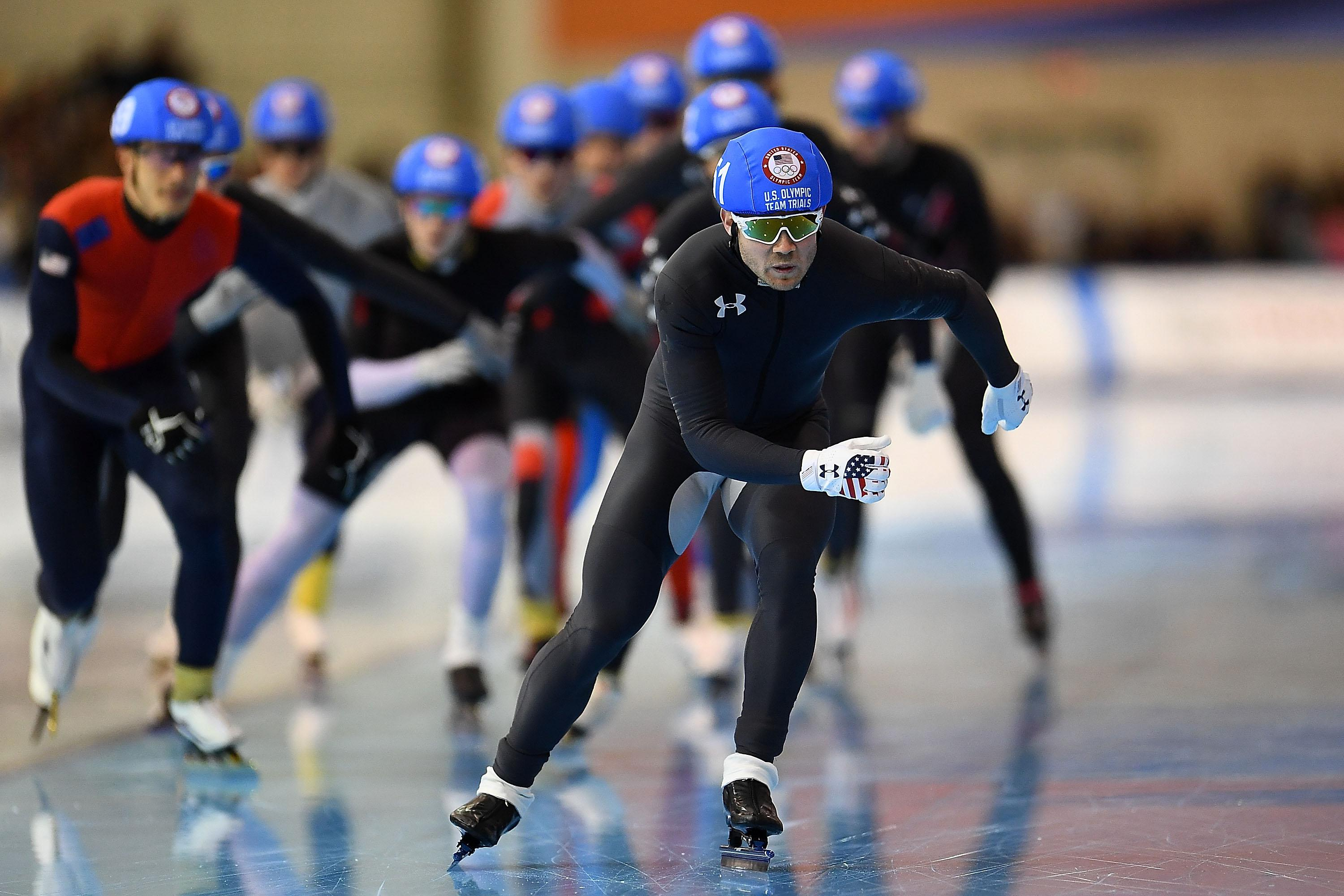 Joey Mantia leads a group of skaters in the men's mass start event during the Long Track Speed Skating Olympic Trials at the Pettit National Ice Center on Jan. 7 in Milwaukee.
