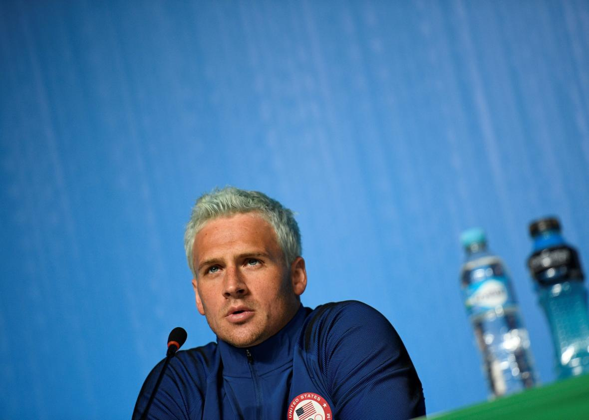 U.S. swimmer Ryan Lochte holds a press conference on Aug. 3 in Rio de Janeiro, two days ahead of the opening ceremony of the Rio 2016 Olympic Games.