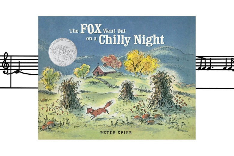 The Fox Went Out on a Chilly Night book cover overlaid on sheet music.