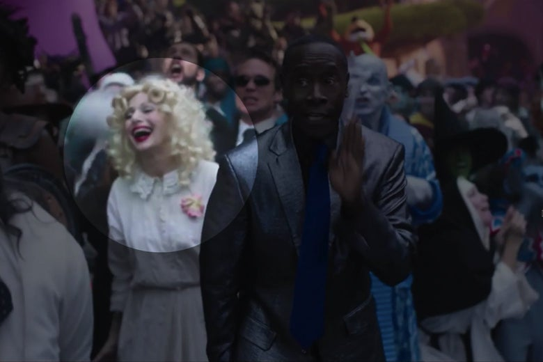 A still from Space Jam showing Baby Jane Hudson cheering on a basketball game from the sidelines.