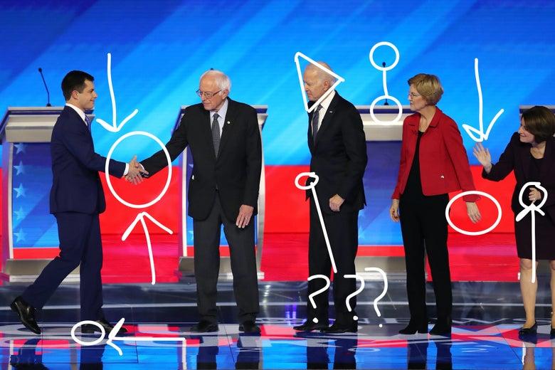 Circles and arrows drawn over a photo of Pete Buttigieg, Bernie Sanders, Joe Biden, Elizabeth Warren, and Amy Klobuchar greeting one another onstage before a debate.