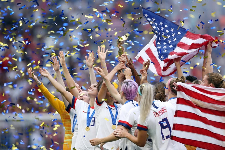 The U.S. Women's National Team celebrates.