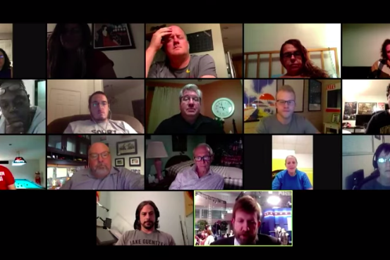 Screenshot of Zoom window with people in a videoconference