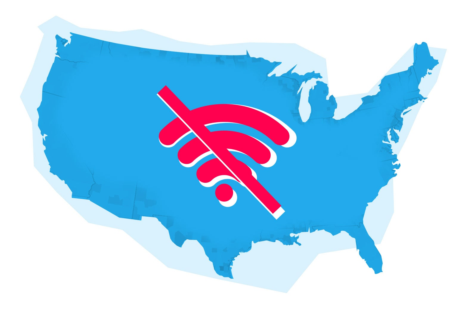 Illustration: A U.S. map with the no Wi-Fi symbol superimposed.