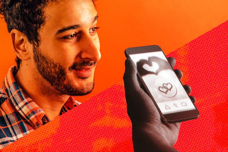 Aymann Ismail and a hand holding a phone with a dating app on the screen.