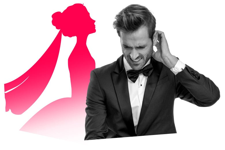 Man in tux looks uncomfortable with an illustrated silhouette of a bride behind him.
