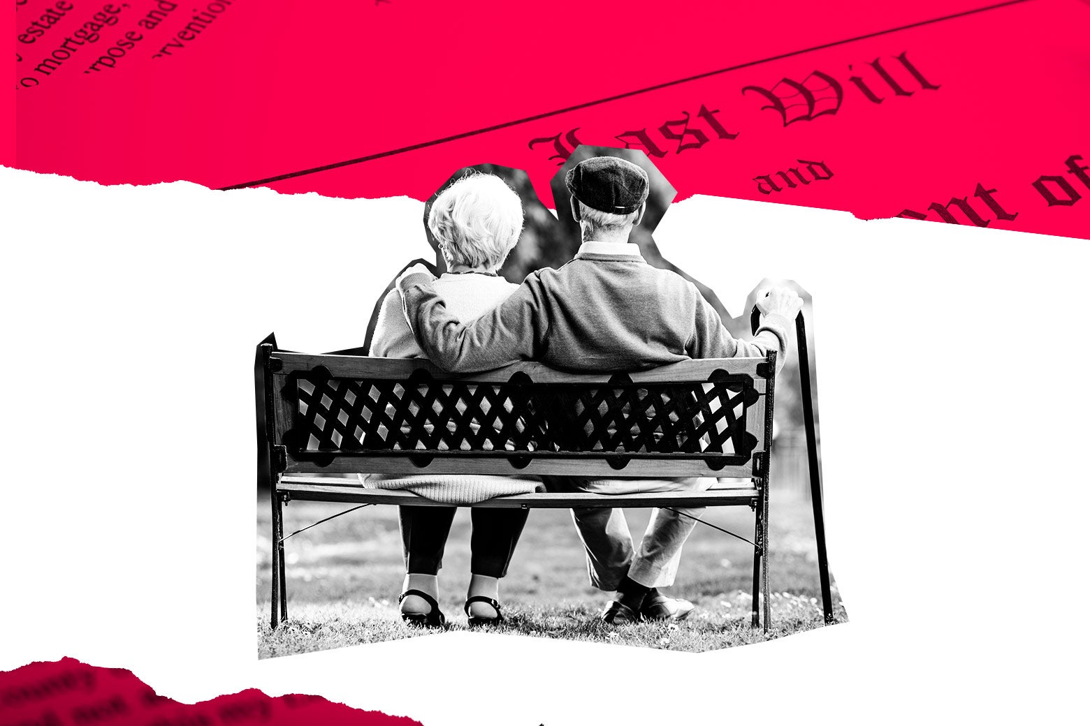 An old couple on a bench collaged with a ripped will and testament.