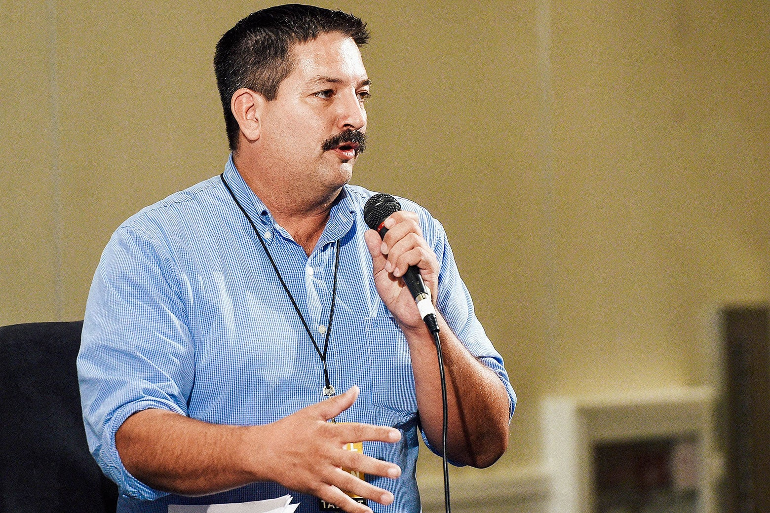 "Randy Bryce at the ""The Power Vote: Latinos' Crucial Role in the 2018 and 2020 Elections"" panel during Politicon at the Pasadena Convention Center on July 30 in Pasadena, California."