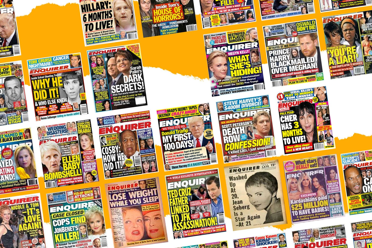 An array of National Enquirer covers.