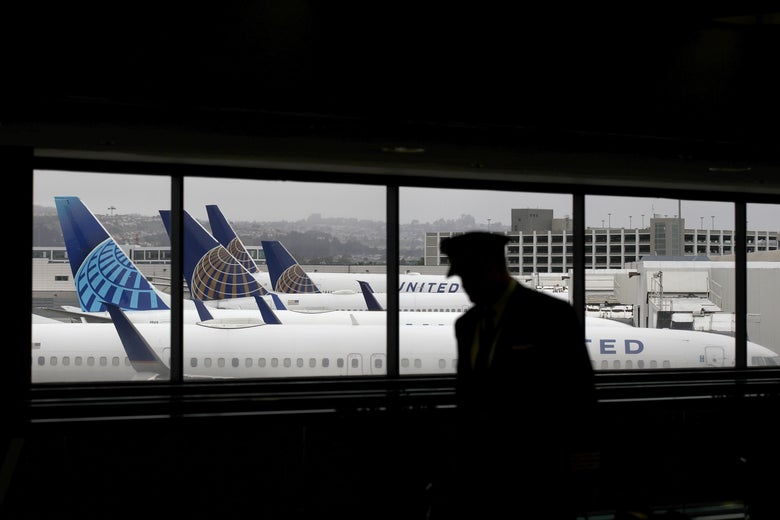 A pilot walks by a window, through which multiple parked United Airlines planes are visible.