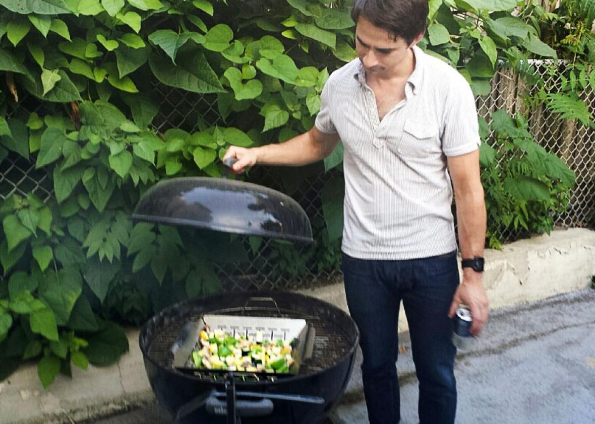 Jacob Brogan, grilling.