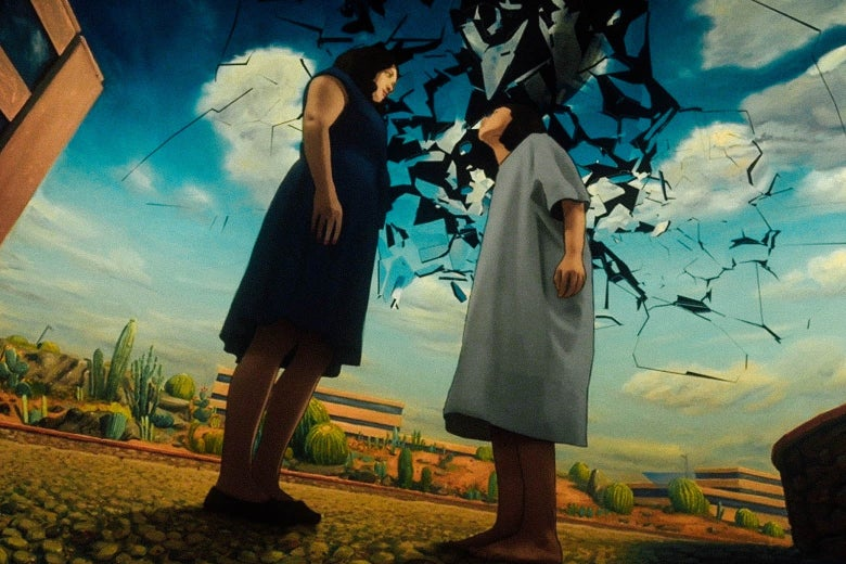 Two female characters stand outside as the sky appears to shatter in a still from Undone.