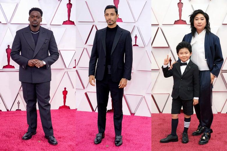Daniel Kaluuya, Riz Ahmed, Alan Kim and Christina Oh pose on the red carpet.