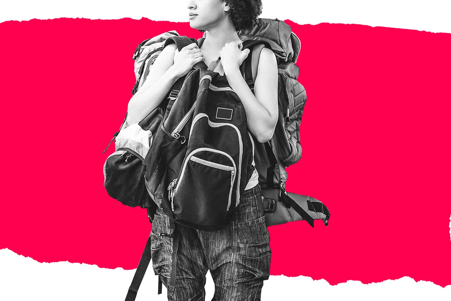 Photo illustration of a girl with backpacks on top of a red tear.