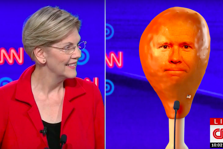 Elizabeth Warren at a debate and John Delaney as a turkey leg.