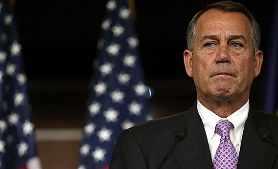 Rep. John Boehner answers questions during a press conference at the U.S. Capitol in Washington, DC.