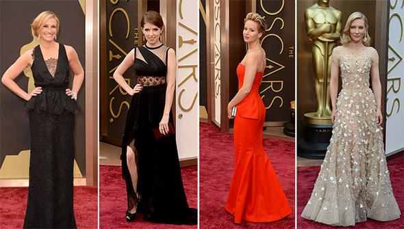 Julia Roberts, Anna Kendrick, Jennifer Lawrence and Cate Blanchett at the 86th Academy Awards on March 2nd, 2014 in Hollywood, California.