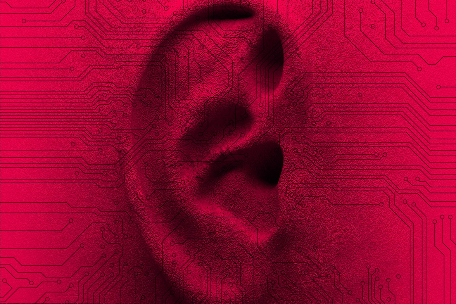 An ear with digital surveillance.