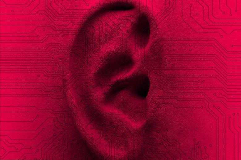 An ear with digital surveillance.