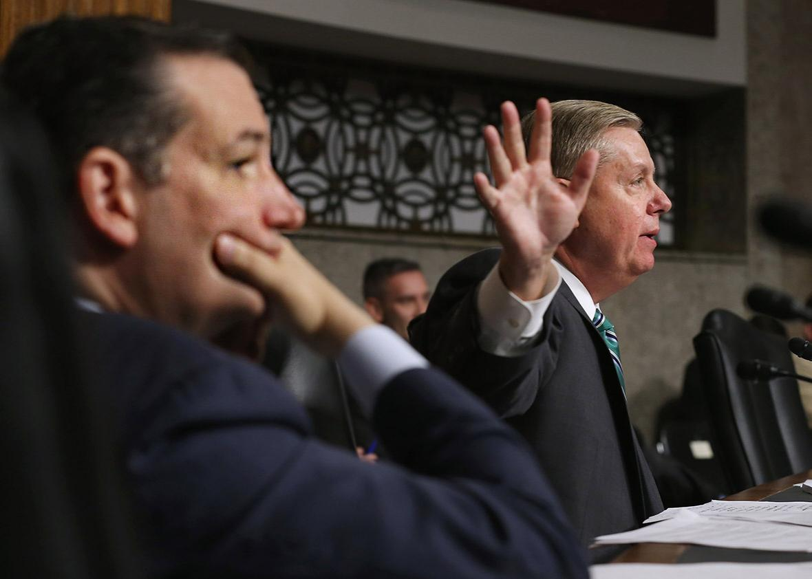 Sens. Ted Cruz and Lindsey Graham question witnesses during a hearing about the Iran nuclear deal on July 29, 2015, in Washington, D.C.