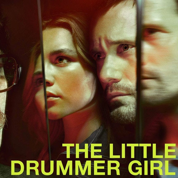 Title card for The Little Drummer Girl, featuring characters faces reflected in mirrors.