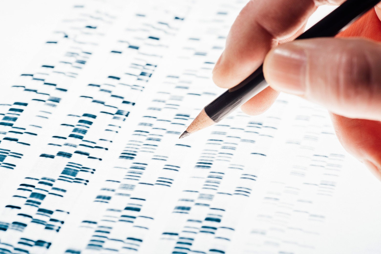 A pencil hovering over a Sanger sequencing image.