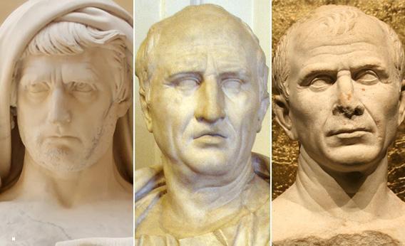 Cato, Cicero, and Caesar.