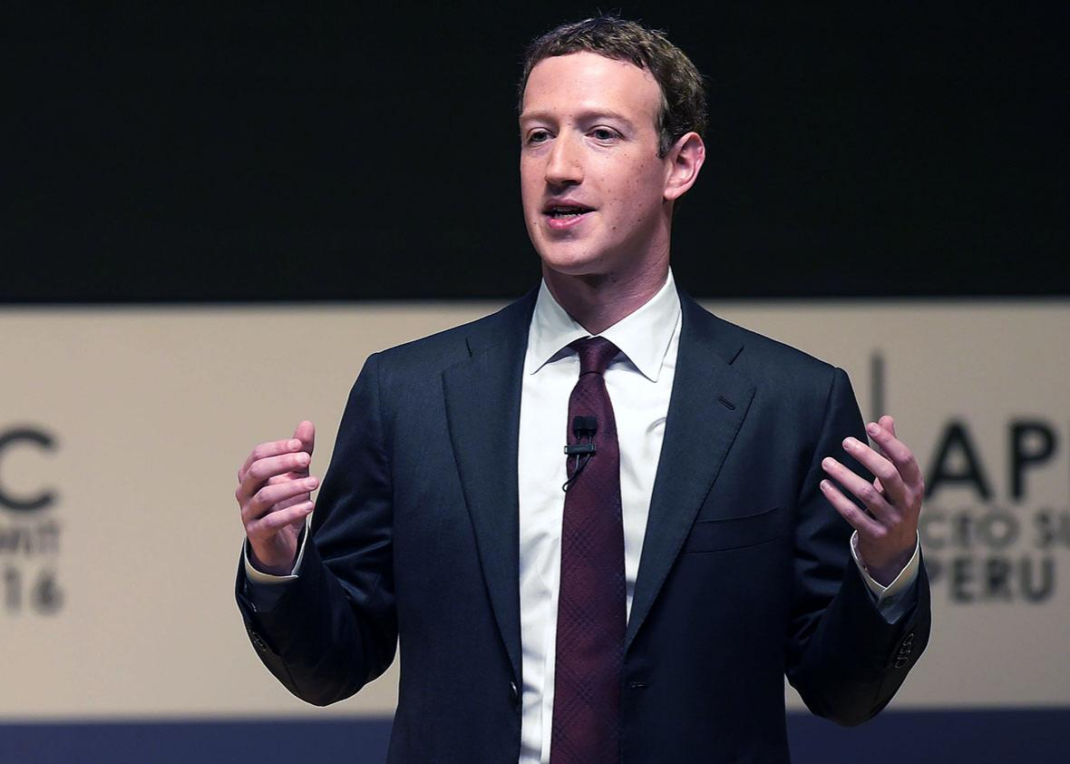 Facebook CEO and chairman Mark Zuckerberg speaks during a session of the APEC CEO Summit, part of the broader Asia-Pacific Economic Cooperation (APEC) Summit in Lima on November 19, 2016.