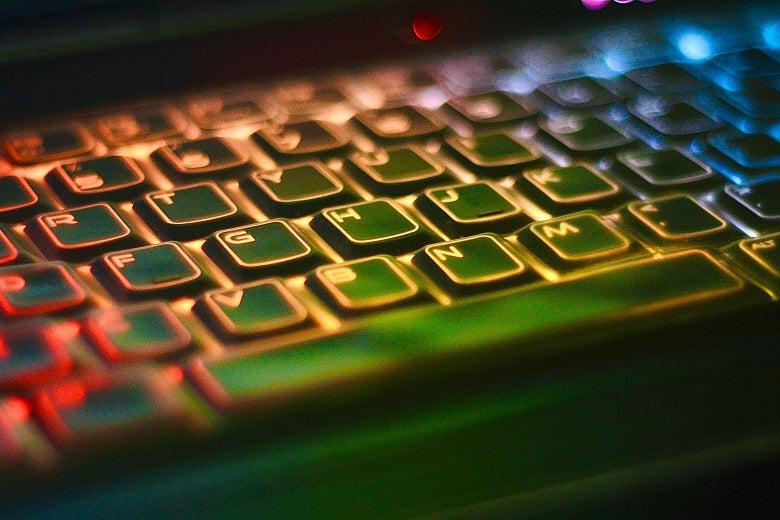 A glowing keyboard