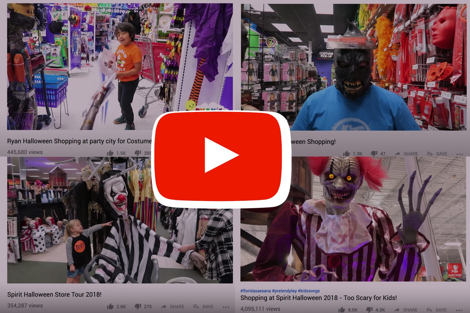 "Stills from YouTube videos of kids at Halloween stores, with YouTube ""play"" logo overlaying images."