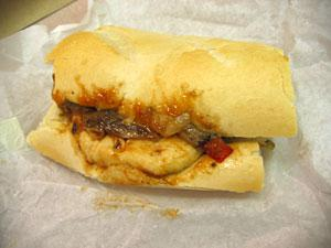 Burger King's Smoky Barbecue Chicken Baguette, unleashed from its wrapper