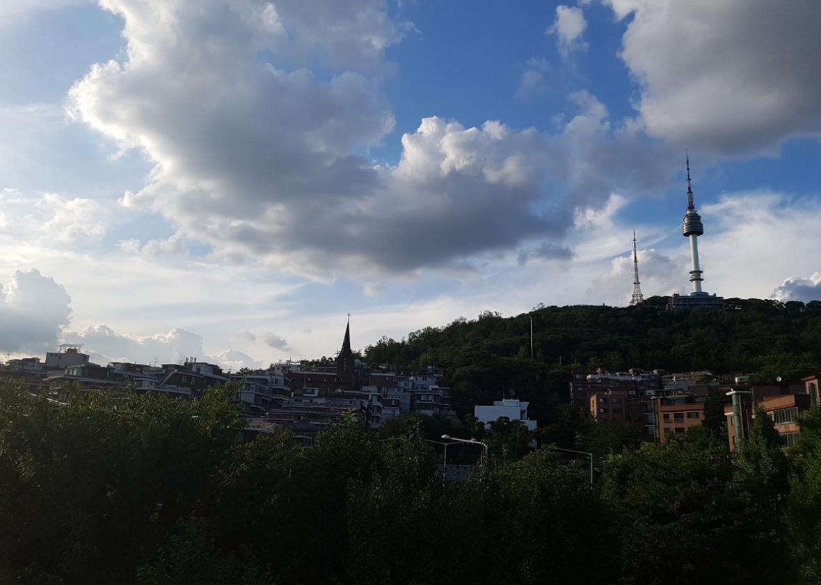 Seoul Tower on Namsan and the neighborhood of Haebangchon below.