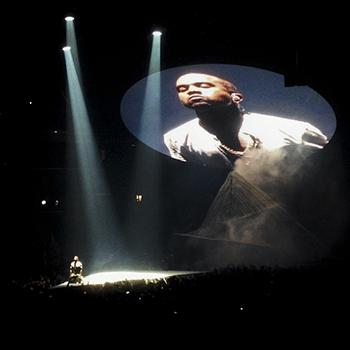 Kanye West performing as part of the Yeezus tour in Brooklyn NY November 20 2013