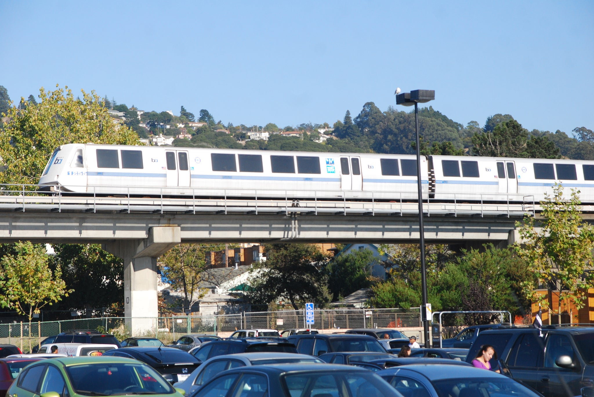 A BART train exits the El Cerrito del Norte station in the East Bay.