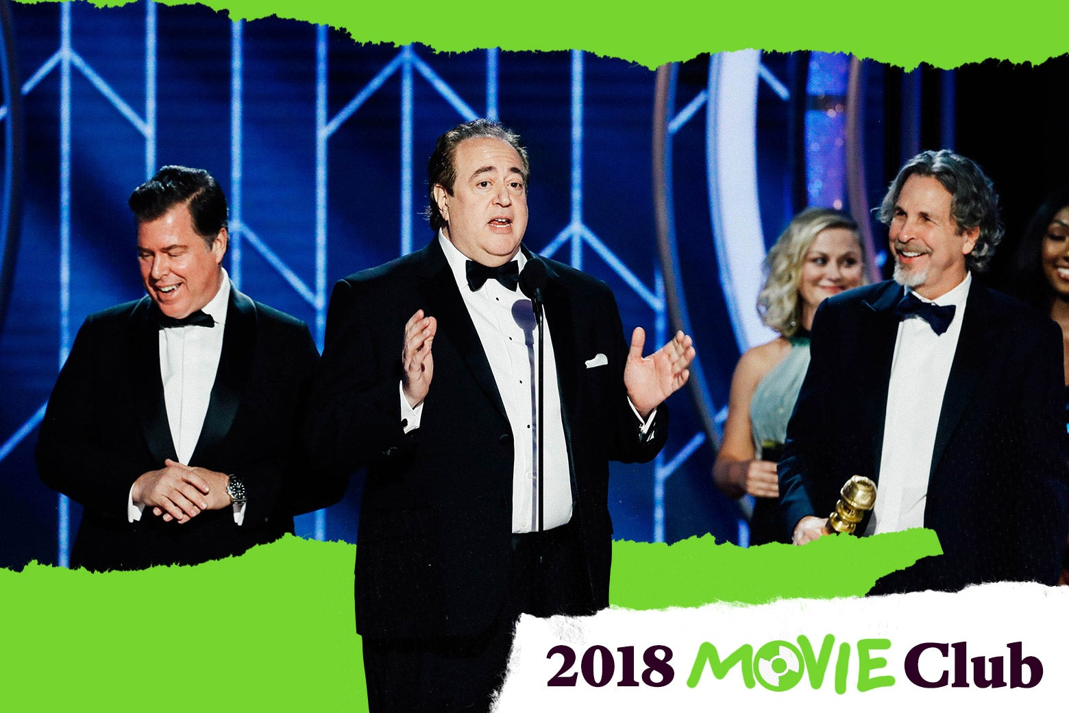 Brian Currie, Nick Vallelonga, and Peter Farrelly onstage at the Golden Globes.