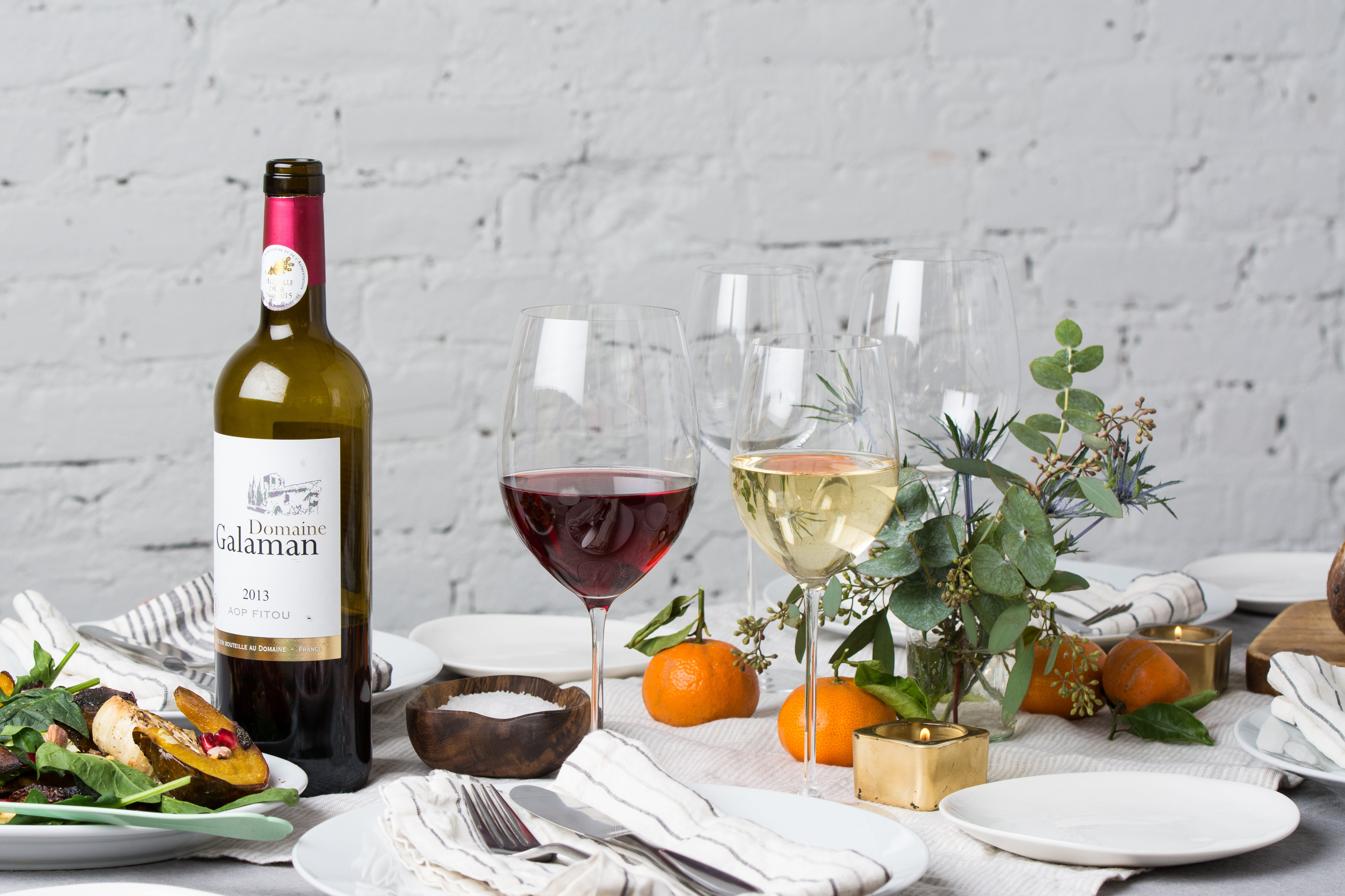 Veritas glasses with red and white wines